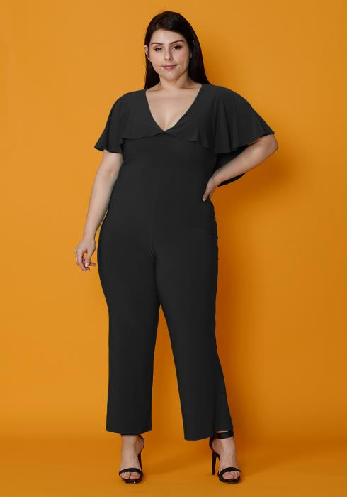 Asoph Plus Size Chiffon Cape Shoulder Jumpsuit