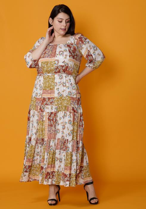 Asoph Plus Size Multi Print Empire Maxi Beach Dress