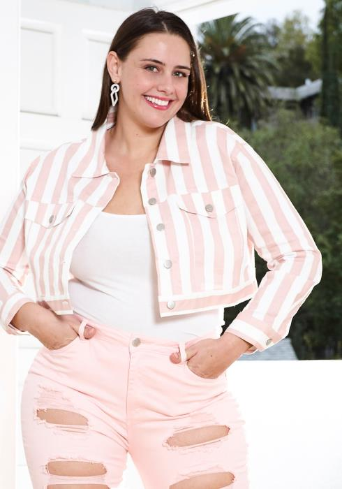 Asoph Plus Size Stripe Button Up Cropped Jacket