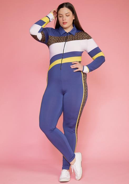 Asoph Plus Size Color Block Zip Up Jumpsuit