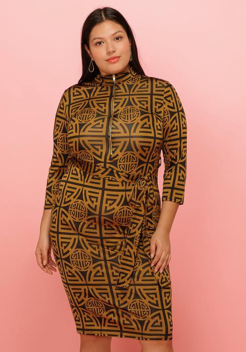 Asoph Plus Size Mock Neck Zip Up Printed 3/4 Sleeve Dress
