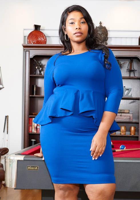 Asoph Plus Size 3/4 Sleeve Peplum Party Dress