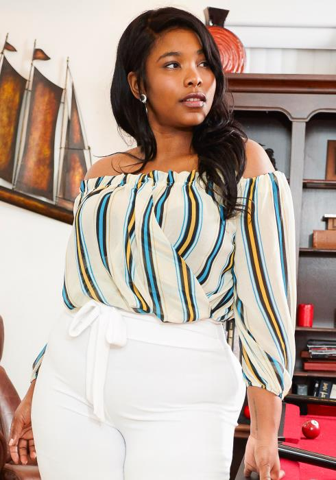 Asoph Plus Size Multi Color Stripe Off Shoulder Crop Top