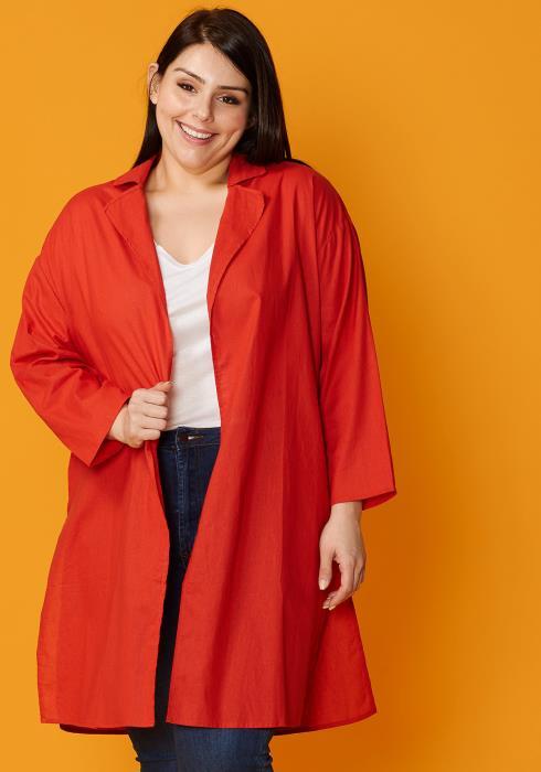 Asoph Plus Size Cotton Drop Shoulder Cardigan