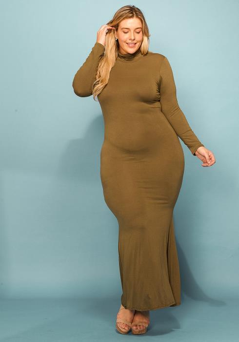 Asoph Plus Size Mock Neck Long Sleeve Maxi Dress