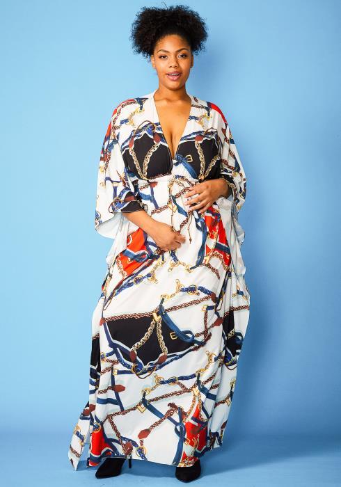 Asoph Plus Size Multi Print Maxi V-Neck Empire Dress