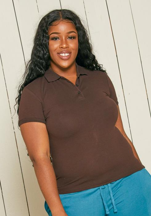 Asoph Plus Size Basic Short Sleeve Polo Tee