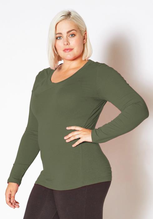 Asoph Plus Size Womens Basic Scoop Neck Long Sleeve Shirt