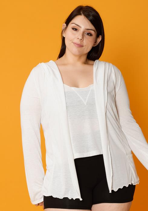 Asoph Plus Size Thin Hooded Cardigan