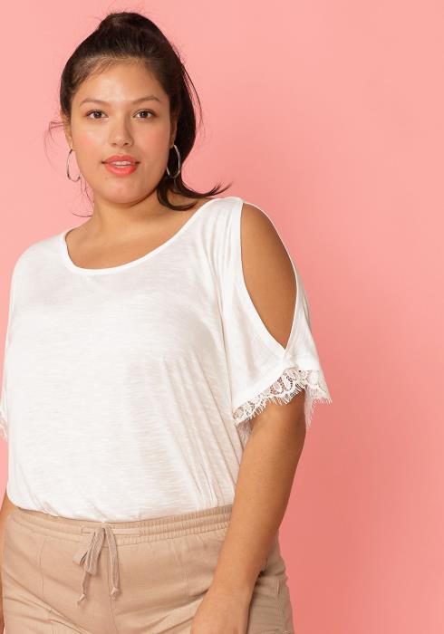 Asoph Plus Size Cold Shoulder Lace Trim Top