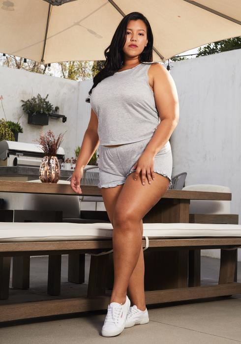 Asoph Plus Size Ruffle Hem Shorts