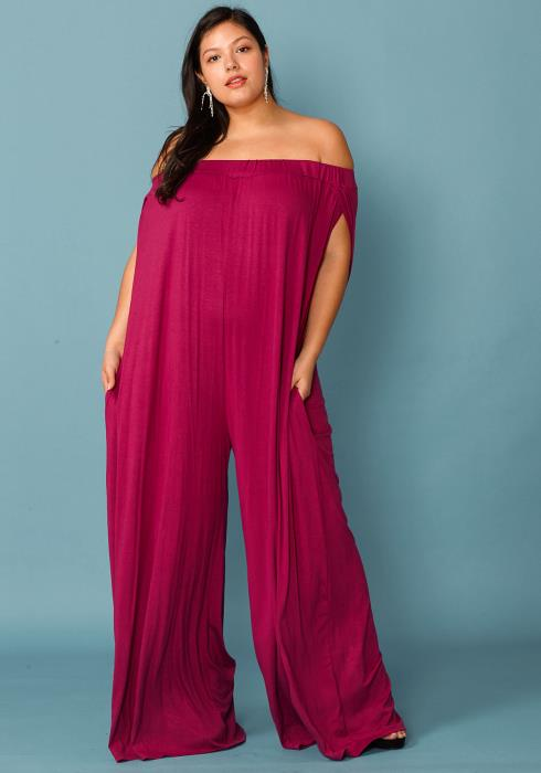 Asoph Plus Size Wide Flared Off The Shoulder Jumpsuit