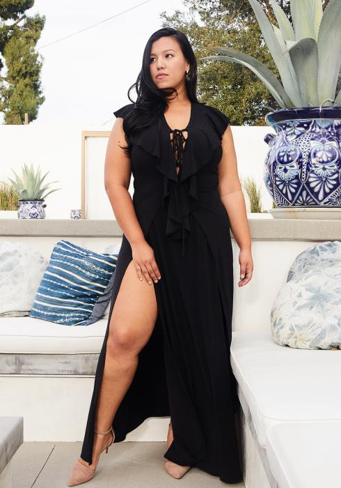 Plus Size Lace Up Front Slit Hem Dress