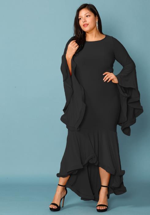 Plus Size Flared Bell Hem Maxi Dress