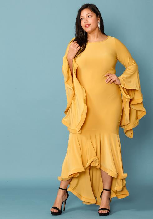 Asoph Plus Size Charming Flared Bell Hem Maxi Gown