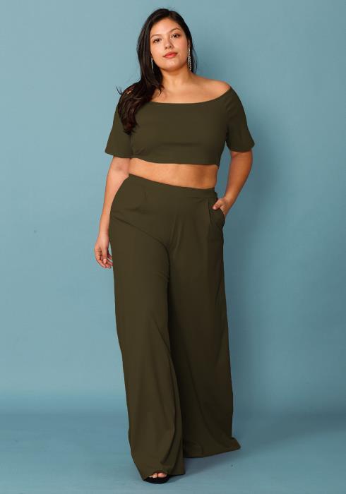 Plus Size Crop Top & Wide Pants Set