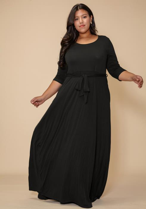 Plus Size Stretchy Flare Maxi Dress