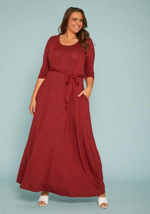 Plus Size Stretchy Flare Maxi Dress