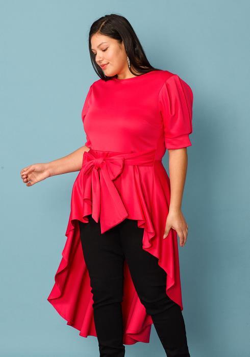 Plus Size Hi Lo Tie Front Blouse