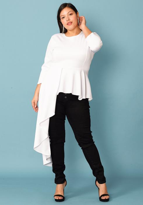 Plus Size Asymmetrical Peplum Blouse