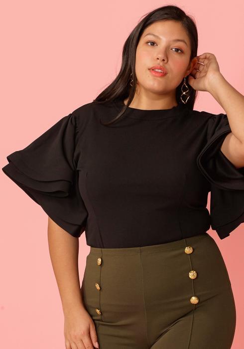 Plus Size Layered Ruffle Sleeve Blouse
