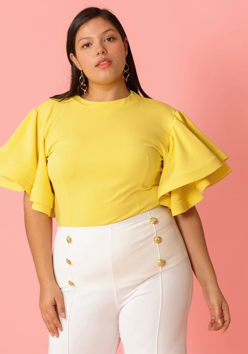 Plus Size Layered Ruffle Sleeve Blouse