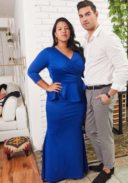 Asoph Plus Size Peplum 3/4 Sleeve Maxi Dress