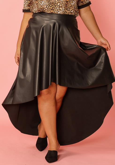 Asoph Plus Size Hi-Lo Pleated Faux Leather Skirt