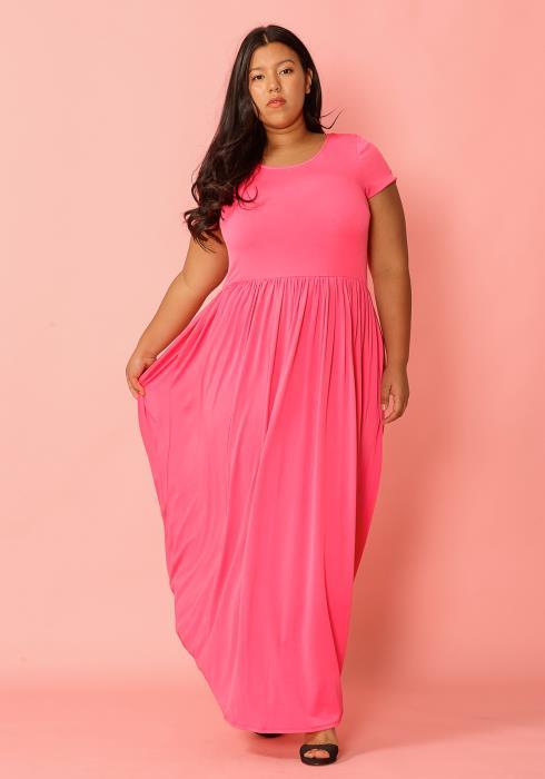 Asoph Plus Size Short Sleeve Pleated Maxi Dress