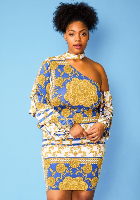 Asoph Plus Size Multi Print One Shoulder Dress