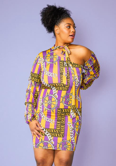 Asoph Plus Size Multi Stripe Print One Shoulder Dress