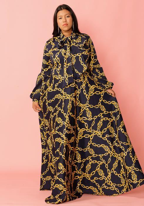 Asoph Plus Size Chain Print Tie Neck Maxi Dress
