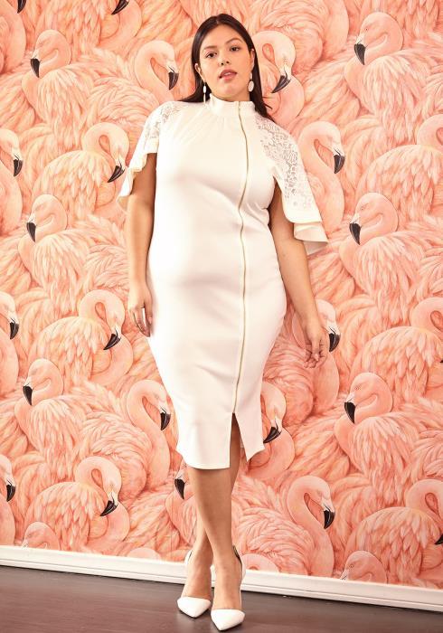 Asoph Plus Size Cape Sleeve Zipper Front Midi Dress