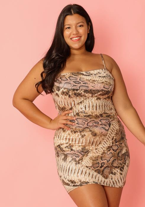 Asoph Plus Size Snake Print Sexy Spaghetti Strap Bodycon Dress