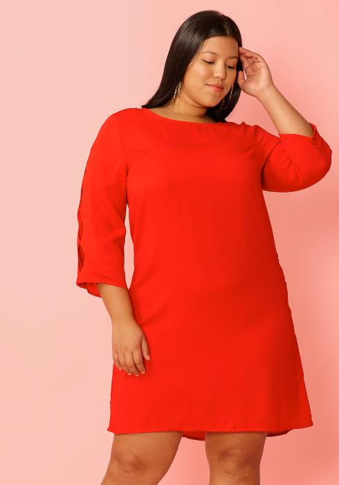 Asoph Plus Size Cutout Sleeve Shift Dress