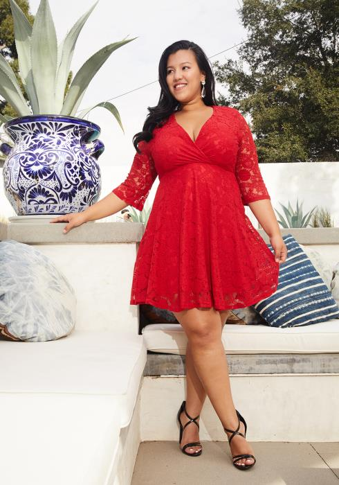 Asoph Plus Size Laced Flare Cocktail Party Dress