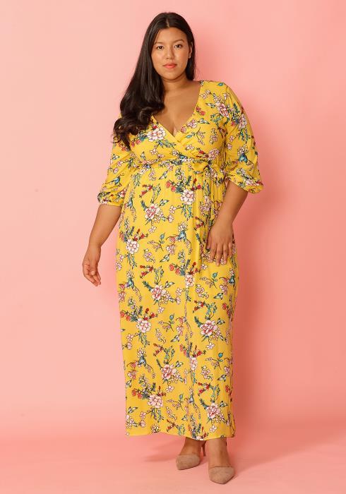 Asoph Plus Size Floral Maxi Chiffon Dress