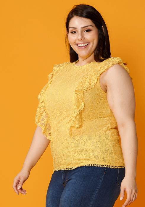 Asoph Plus Size Laced Sleeveless Blouse