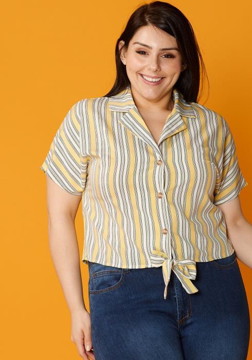 Asoph Plus Size Casual Tie Hem Stripe Blouse