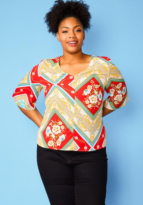 Asoph Plus Size Multi Print Blouse