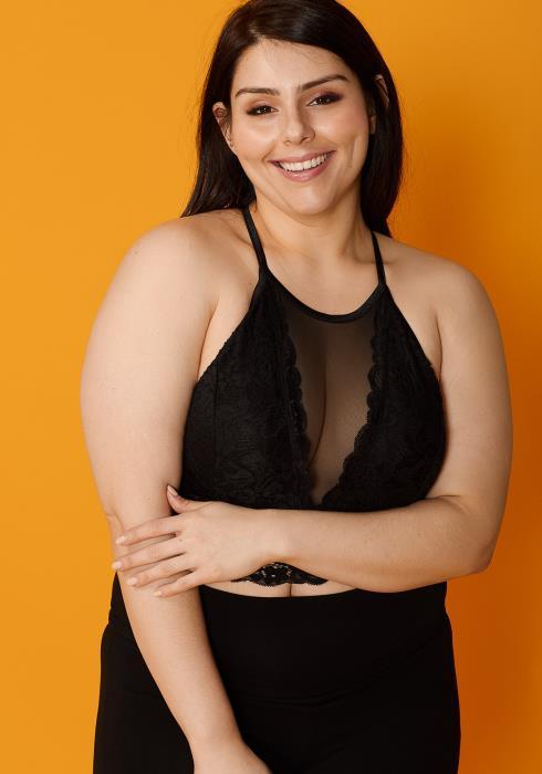 Asoph Plus Size Sheer Mesh & Lace Bralette