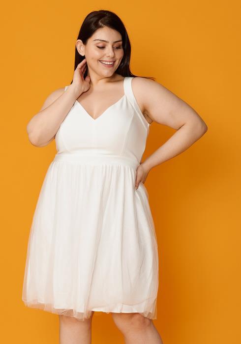 Asoph Plus Size V-Neck Sleeveless Flared Party Dress