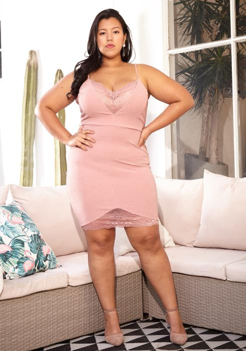 Asoph Plus Size Laced Mini Cocktail Dress