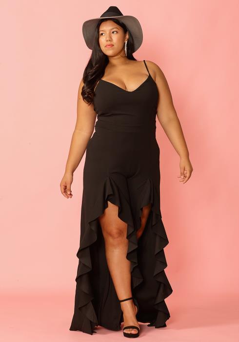 Asoph Plus Size Hi-Lo Ruffle Elegant Jumpsuit
