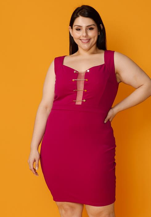 Asoph Plus Size Sheer Mesh Front Mini Party Dress