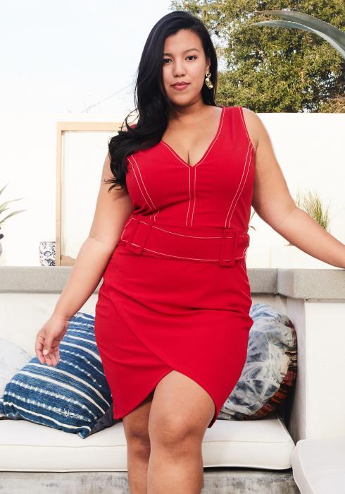 Asoph Plus Size Stitch Accent Wrap Dress With Belt