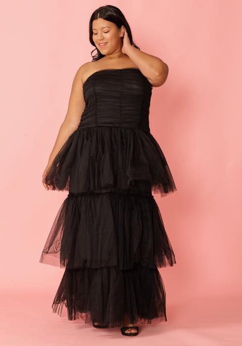 Asoph Plus Size Layered Mesh Maxi Dress