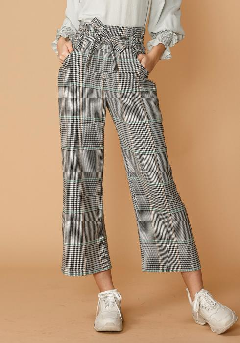 Nurode Glen Plaid Tie Waist Cropped Pants