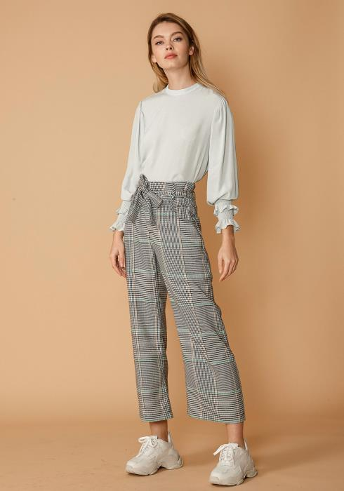 Nurode Glen Plaid Tie Waist Cropped Pants
