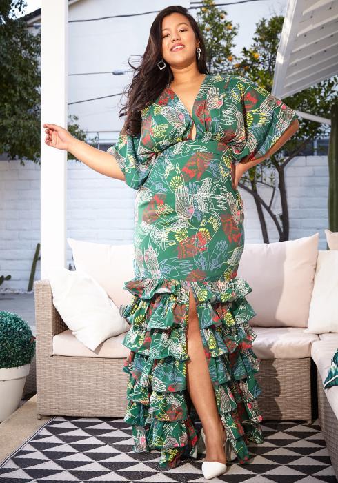 Asoph Plus Size Center Slit Empire Maxi Mermaid Dress